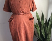 Amazing late 1940s early 1950s plus size Toni Todd Dress xxl 40 waist