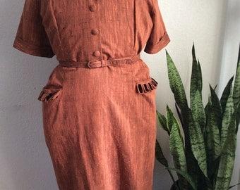 Amazing late 1940s early 1950s plus size Toni Todd Dress xxl 40 waist