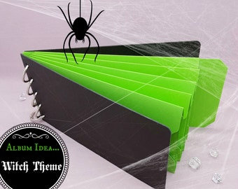 """Green Shades, Pocket Tag, Chipboard Album, Size 8-1/4"""" x 4-1/4"""", Scrapbooking, Memory Keeping, Photo Album, Black Covers"""