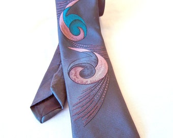 Gray Men's Tie Narrow with Lavender Turquise Swirl Pattern, Players Brand, Silk, Made in USA
