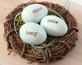 Pregnancy reveal, Personalized eggs, Custom name, set of 3 eggs