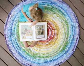 rainbow rug - round recycled crochet stripes 48 inches