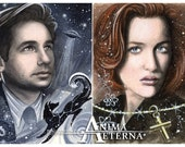 The Truth Is Out There - Fox Mulder & Dana Scully - The X-Files Traditional Art Watercolor Paintings - Two ACEO Prints - Hand Signed