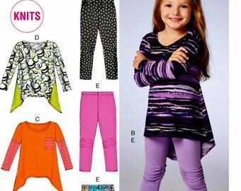 Girls' High Low Tunic Pattern, Girls' Knit Tops Pattern, Girls' Leggings Pattern, McCall's Sewing Pattern 6827