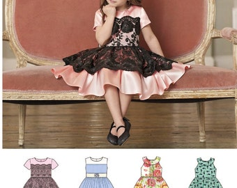 Girls' Dress with Lace Overlay Pattern, Little Girls' Classic Dress Pattern, Sz 3 to 8, Simplicity Sewing Pattern 8182