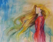 Original Watercolor Girl with Red Dress, whimsical and romantic