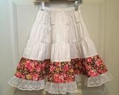 Little Girls Handmade Long Tiered Peasant Skirt Size 4/5