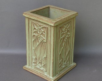 Heavy Stoneware Vase with Light Green Glaze, Imprinted with an Arts & Crafts Floral Design