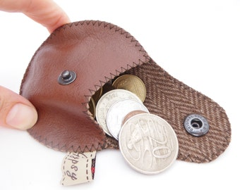 Men's Leather Change Purse / Argentine Leather and Wool / The Mini Gypsy Guys Change Purse