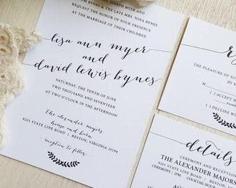 PRINTED Wedding Invitation Suite - Style INV27 - Bombshell COLLECTION | wedding suite | elegant wedding | formal wedding