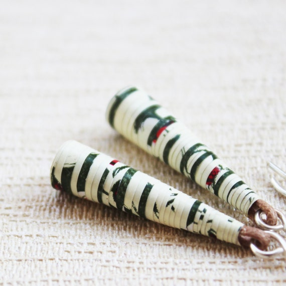 Garden Earrings - Paper anniversary gift for her -  Paper bead earrings - 1st anniversary gift for her - Paper bead jewelry - Paper bead