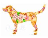 Pink Lotus Flower Yellow Labrador Retriever 10 x 8 inch Floral Art Print - Wall Art Home Decor
