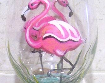 Flamingo Wine Glass Hand Painted Wine Goblet (Custom Order)