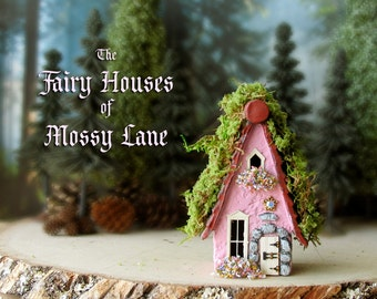 The Fairy Houses of Mossy Lane - Handcrafted Chalet Style Cottage in Raspberry Pink w/ Moss Covered Roof, Flower Boxes and Wooden Door