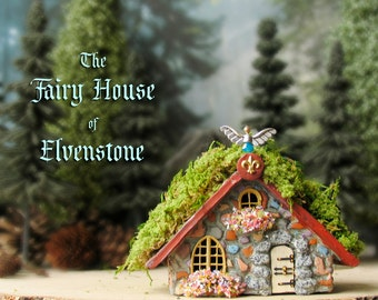 Elvenstone Fairy Cottage - Miniature Polymer Clay House with Tiled Terracotta Roof, Flower Boxes and Wooden Door with Wrought Iron Accents