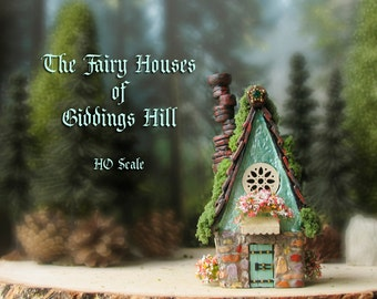 Fairy House of Giddings Hill - Miniature Pearl Blue-Green and Stone Facade Woodland House - Shingle Roof, Chimney, Blooming Flower Boxes