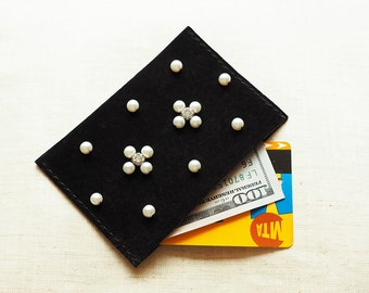 Pearl & Diamond Embellished Leather Card Holder