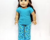 "Cozy Teal Star Pajama Set for 18"" dolls such as American Girl"