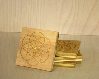 Engraved Flower of Life Coasters