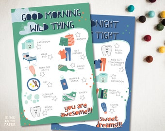 boys morning and evening daily chore checklists