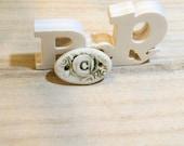 ceramic pendant connector for romantic bracelet letter C  poppy in the sky high fired jewel beige