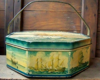 Antique Biscuit Tin, Nautical theme, Historical ships, Faded Blue Color, Farmhouse Primitive Decor,