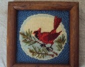 Vintage 70s Tiny Red Cardinal on Pine Branch Crewel Needlepoint Embroidered Picture