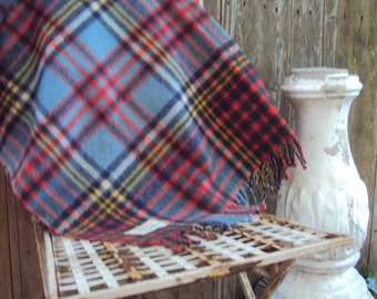 Vintage 100 % Wool  Plaid  Lap Throw Blanket Made in England For Gimbel Brothers Tartan Plaid