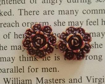 Purple Yellow Shabby Chic Resin Flower plugs Gauges  0g, 00g  t122