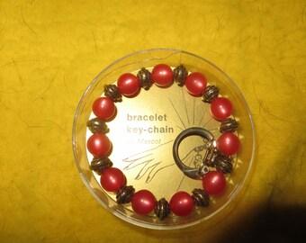 1950s  glass beaded stretch bracelet keychain by apex  new never used