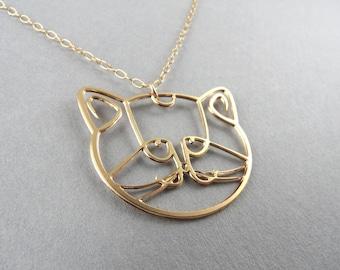 cat necklace, cat jewelry, cat head golden necklace
