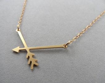 arrow necklace, arrow jewelry, mini broken arrow necklace, broken arrow necklace, gold arrow, arrow charm, gift for her