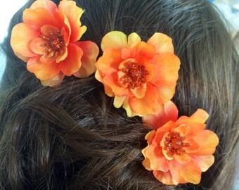 Hair Pin Set of 3 Vivid Orange Flower Handmade Bun Chignon Bobby Hair Pin, Wedding, Bridesmaid, Flower Girl, Special Occasion