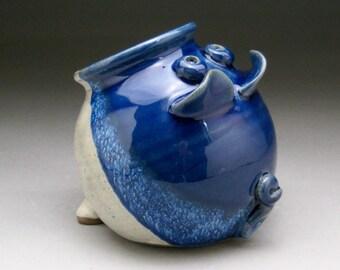 Ceramic Salt Pig - Pig Jar - Blue and White