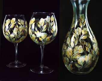 Hand Painted Wine Serving Set - Elegant Gold and Silver Roses - Custom 25th 50th  Anniversary Gift Ideas