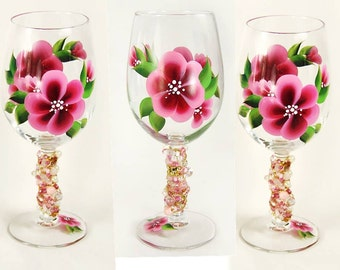 6 Beaded Wine Glasses for Bridesmaids - Hand-Painted Pink Flowers, Personalized Set of 6 - Choose Your Colors, Fun Funky Flowers