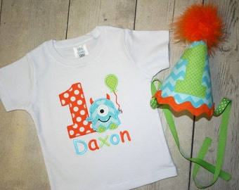 Little Blue Chevron  Monster Birthday Shirt or bodysuit and HAT - FREE PERSONALIZATION-Your Choice of Letters or Numbers