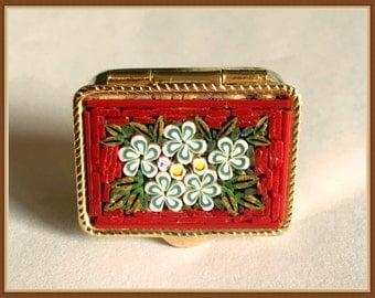 Micro Mosaic Trinket, Made in Italy, Red, White Flowers, Pill Box, Baby Teeth Holder, Small Size, Vintage  1970's 1980's