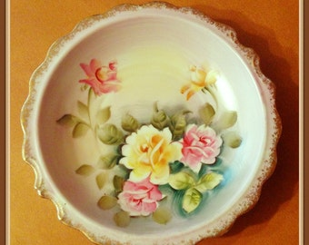 Vintage Porcelain Bowl, Hand Painted Roses, Pink, Yellow, Snacks, Candy, Fruit, Accent Bowl, Norleans, Japan,  1960's