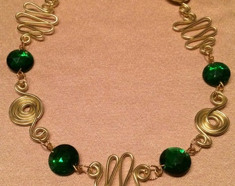 Gold wirework with Emerald Green Antique Glass Beads