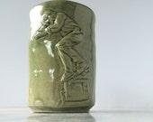 Skateboarder Cup Bas Relief Figure Sculpture Tumbler Nose Grind on a Television Street Art Pottery