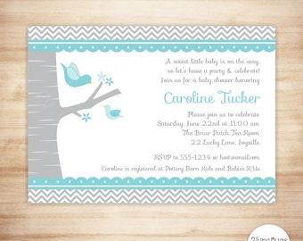 Bird Baby Shower Invitation - Boy Baby Shower - Blue Gray Mommy & Baby Bird Shower Invite - EDITABLE - INSTANT DOWNLOAD
