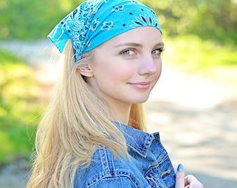Womens Hair Scarf, Turquoise Headwrap, Blue Kerchief, Post Op Headband, Aqua Kerchief (#3016) S M L