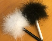 Mix n Match Feather Pen - Marabou Feathers - Black and White - Refillable Ink - Clueless Pen