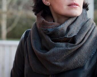 Brown wool scarf chunky scarf felted grey scarf winter wrap merino wool cowl scarf women scarf men hood neck warmer handmade to order