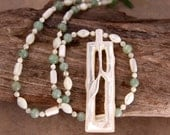 Carved Mother of Pearl Necklace Set Gorgeous Rare Asian Bamboo Pendant with Pale Green Jade Matching Earrings
