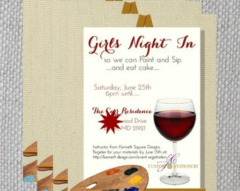 Paint and Sip  Birthday Invitation