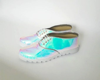 Pony Oxfords Saw-edge white sole faux leather (Handmade to order)