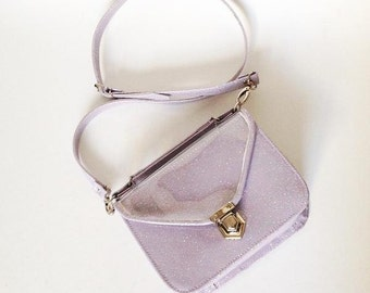 Mady Small Lilac Multicolor Glitter Vinyl Crossbody Bag (Ready to Ship)