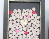 Alternate Drop Top wedding guest book Barwood style Unique Heart Guestbook - Ornate Wood Frame hearts